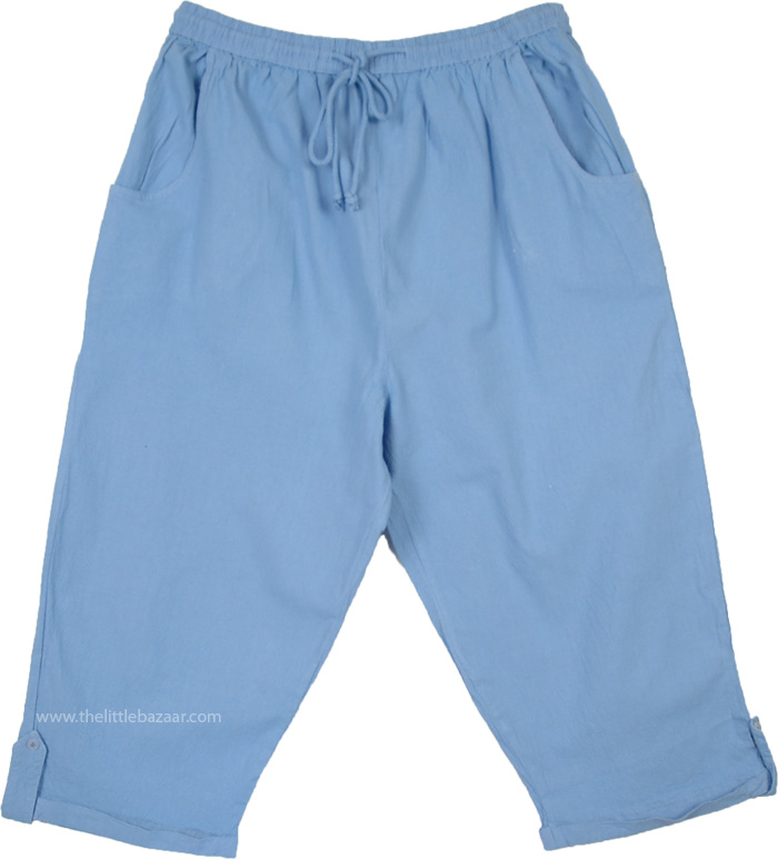 Easy Fit Blue Capri with Flexible Waist, Polo Blue Raw Cotton Street Capri