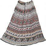 Indian Long Skirt with Animal Print