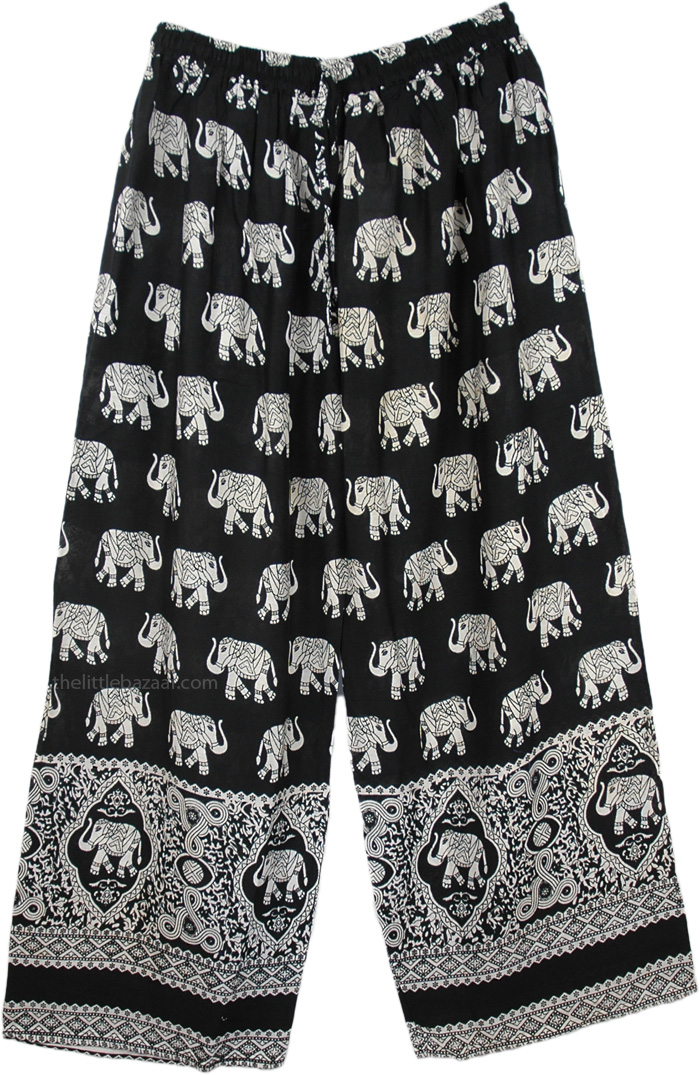 Black White Wide Leg Pants, Women Comfy Loose Black Elephant Pants