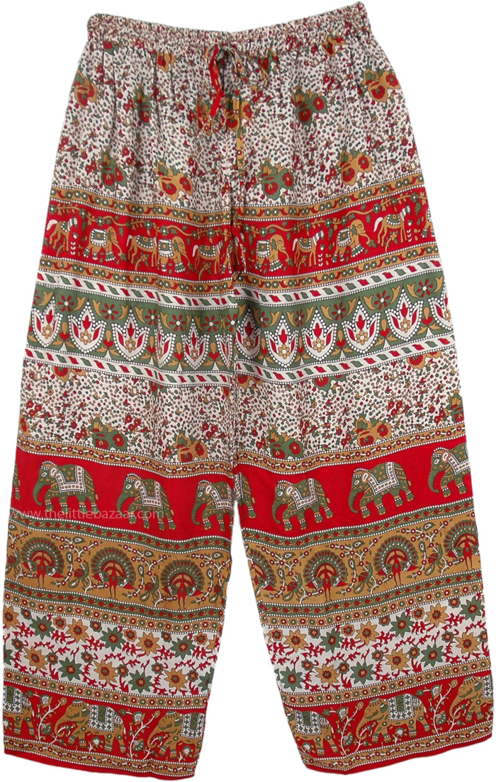 Indian Elephant Fun Frolic Easy Pants, Wide Leg Red Elephant Printed Palazzo Pants