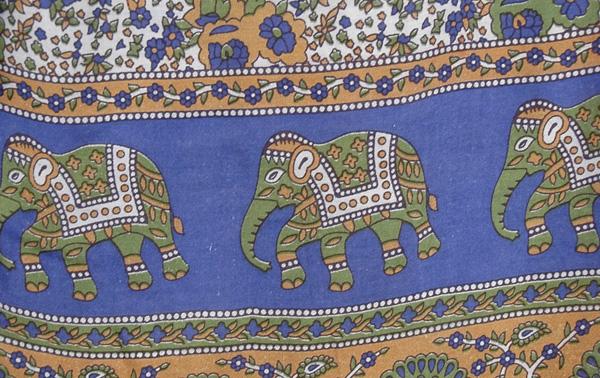 Blue Folk and Elephant Print Palazzo Pants