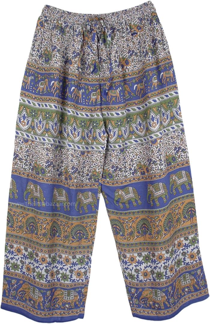Drawstring Waist Pajama Pants in Blue, Blue Folk and Elephant Print Palazzo Pants