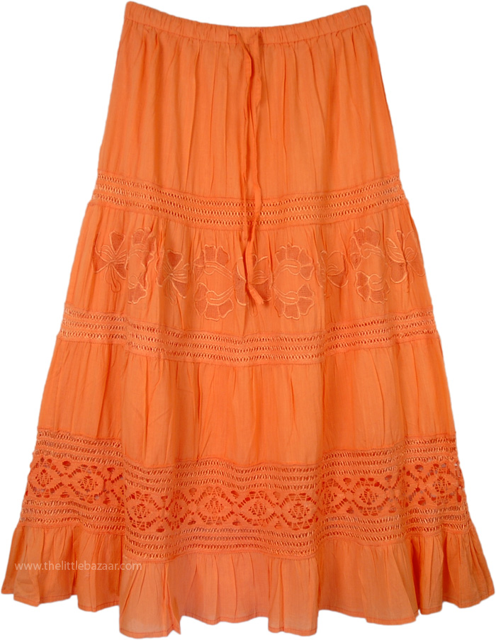 Blue Womens Skirt in Cotton, Flamingo Lace and Cotton Long Skirt