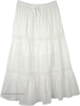 Snow White Summer Cotton Long Skirt
