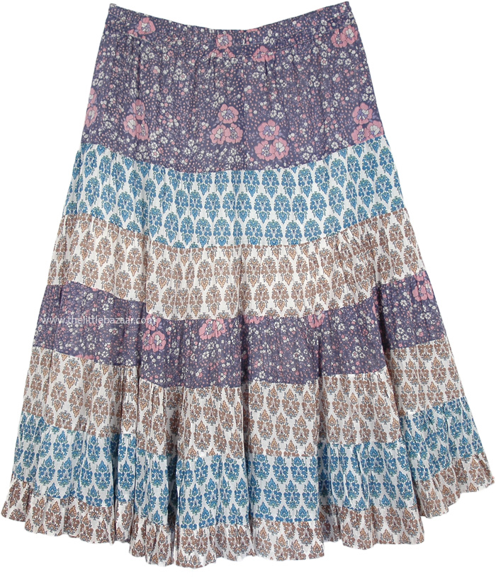 Fun Floral Summer Skirt in Cotton, Old Lavender Floral Full Skirt