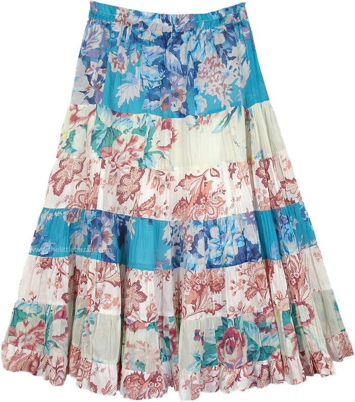 Dazzle Summer Patches Long Skirt, Pearl Hippy Cotton Pastel Floral Skirt