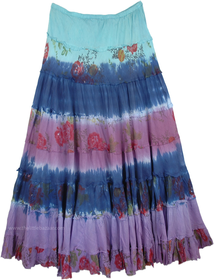 Dazzle Summer 3 Colors Long Skirt, Biscay Dip Dyed Floral Tiered Long Skirt