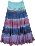 Biscay Dip Dyed Floral Tiered Long Skirt