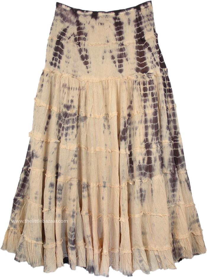 Ruffled Maxi Skirt in Soft Grain Color, Akaroa Tie Dye Flared Skirt