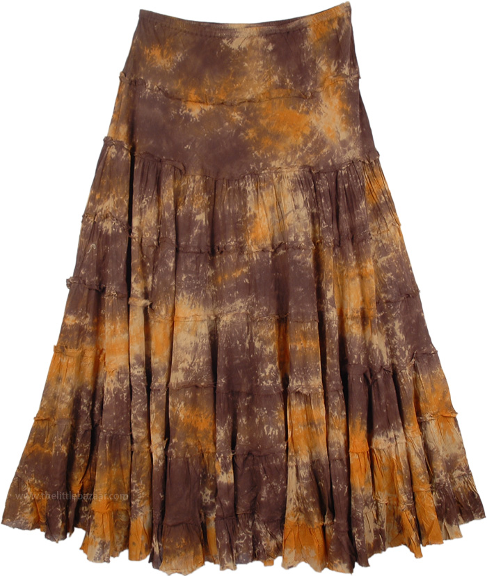 Tie Dye Marble Long Skirt, Cowboy Tie Dye Santa Fe Skirt