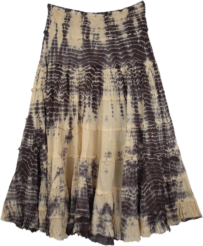 Ruffled Maxi Skirt in Chino Color, Soft Amber Tie Dye Maxi Skirt