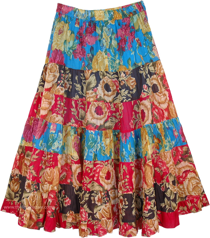 Happy Fun Floral Skirt in Cotton, Puerto Rico Cruise Floral Dance Skirt