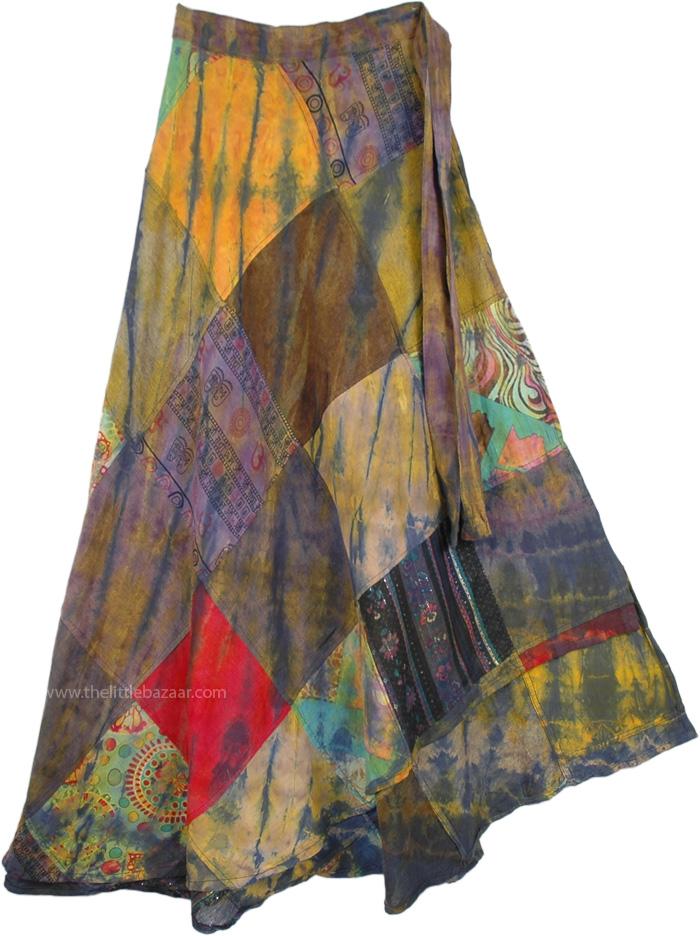 Yellowstone Wrap Around Skirt, Harvest Gold Patch Wrap Around Skirt