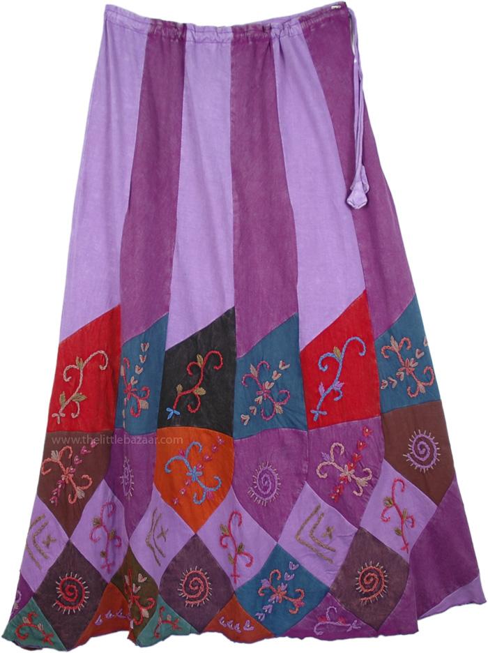 Boho Flare Hem Skirt , Wine Bouquet Boho Embroidered Skirt
