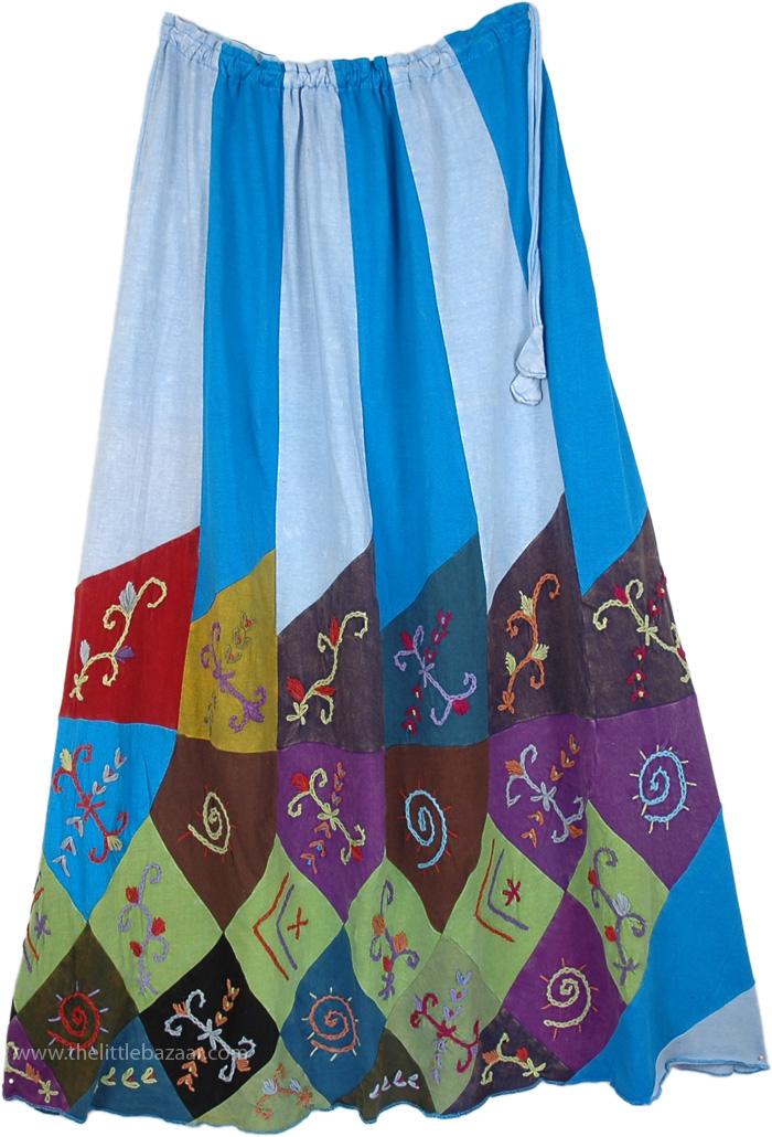 Boho Summer Concert Outdoor Skirt , Bondi Blue Embroidered Boho Skirt