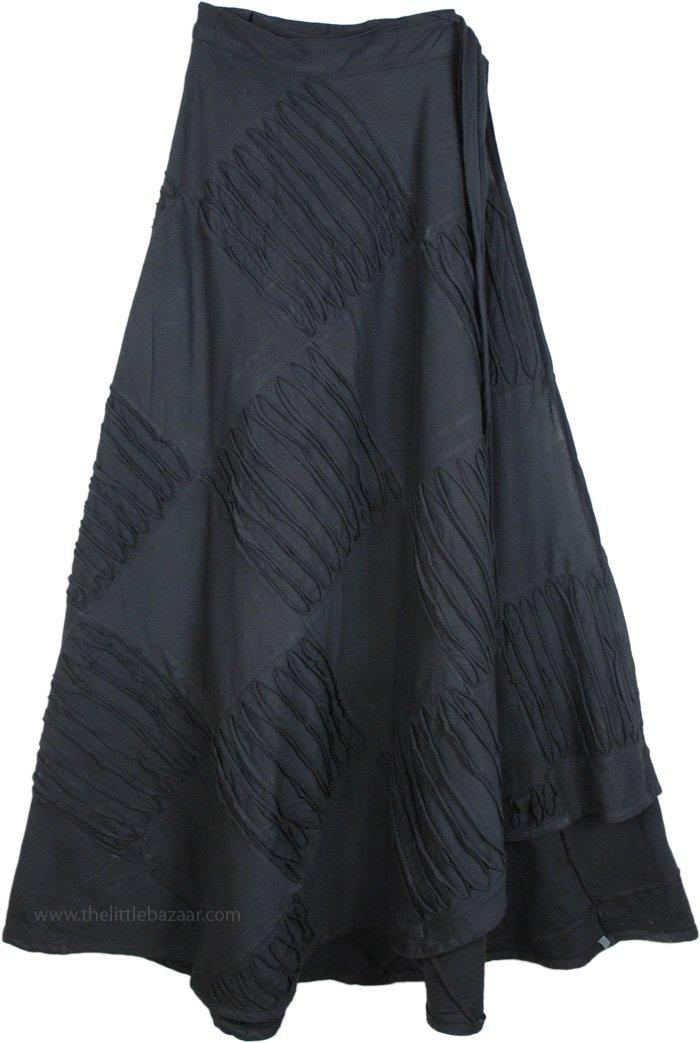 Razor Cut Black Wrap Around Long skirt, Midnight Magic Razor Cut Wrapper Skirt