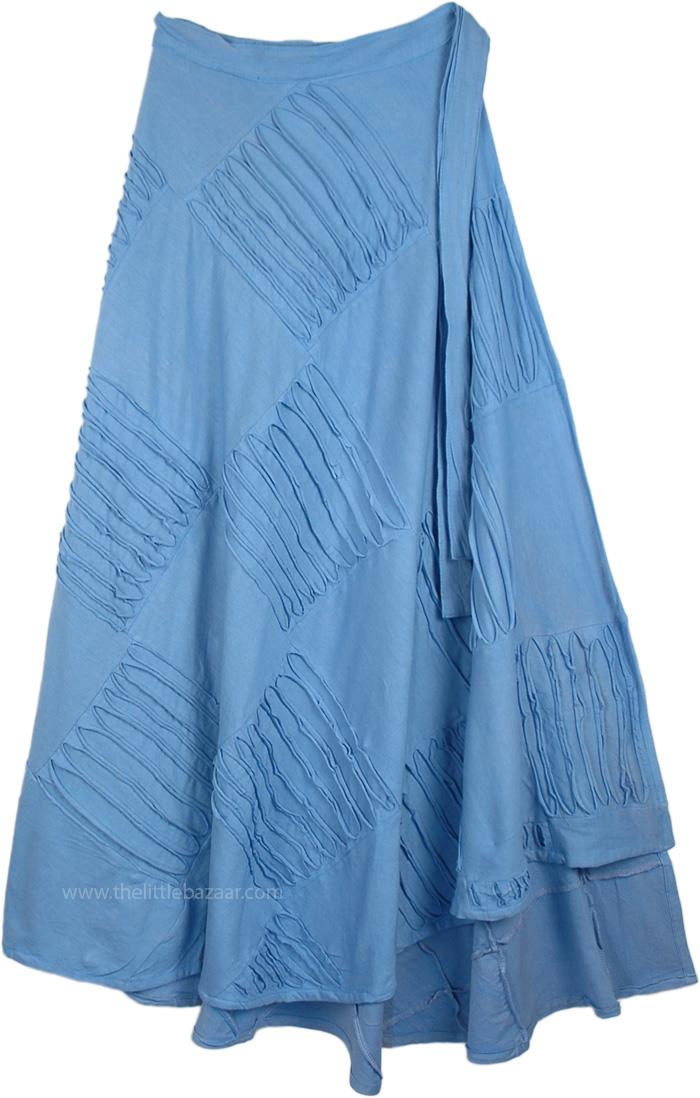 Light Blue Wrap Around Skirt, Azure Blue Razor Cut Long Wrap Skirt