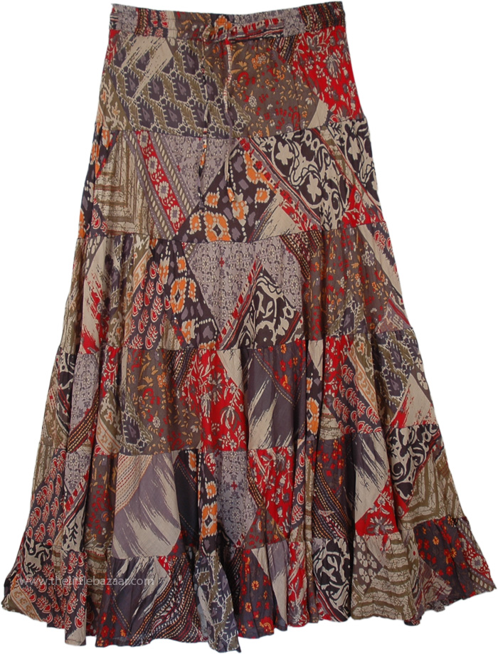 Earthen Floral Print Tiered Skirt, Outdoor Girl Saddle Printed Skirt Long