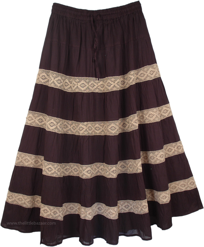 Laced Black Pattern Long Skirt, Black Maxi Skirt with Beige Lace