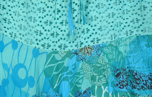 Aquamarine Print Lace Maxi Full Skirt