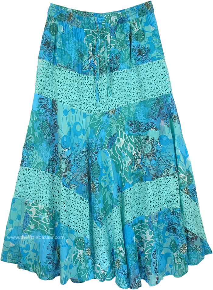 Shakespeare Blue Stylish Long Skirt, Aquamarine Print Lace Maxi Full Skirt
