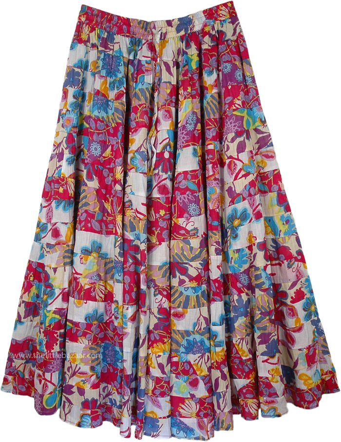 Maxi Full Floral Skirt in 18 Tiers, Claret Multi Color Patchwork Maxi Skirt