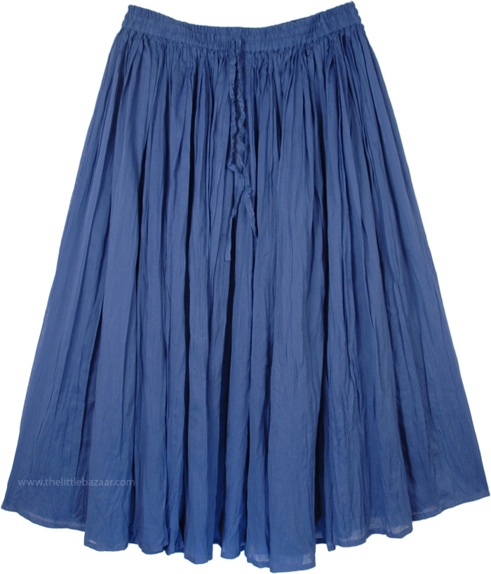 Blue Womens Skirt in Cotton, Sapphire Solid Gathered Cotton Skirt