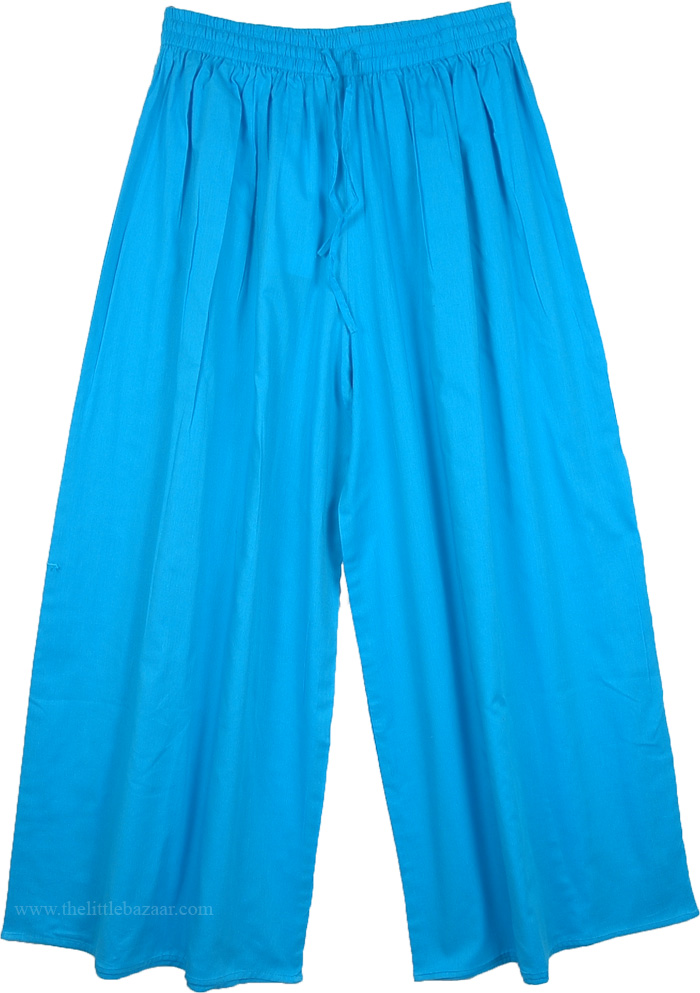 Summer Blue Split Pant Skirts, Culottes Split Pant Skirt in Dodger Blue