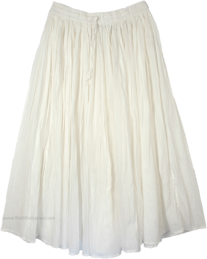 Solid White Cotton Summer Skirt, White Elegance Cotton Broomstick Skirt