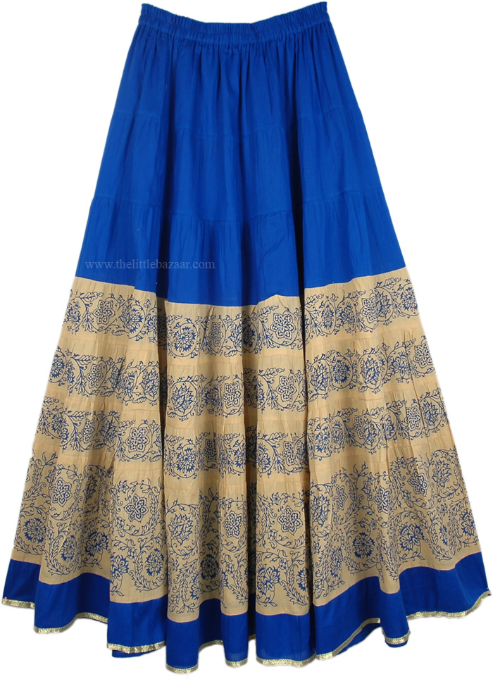 Cotton Ladies Skirt in Blue and Khaki, Cotton Long Summer Skirt in Tory Blue
