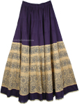 Cotton Long Summer Skirt in Navy Blue Color