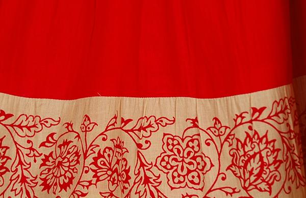 Thunderbird Red Cotton Full Long Skirt