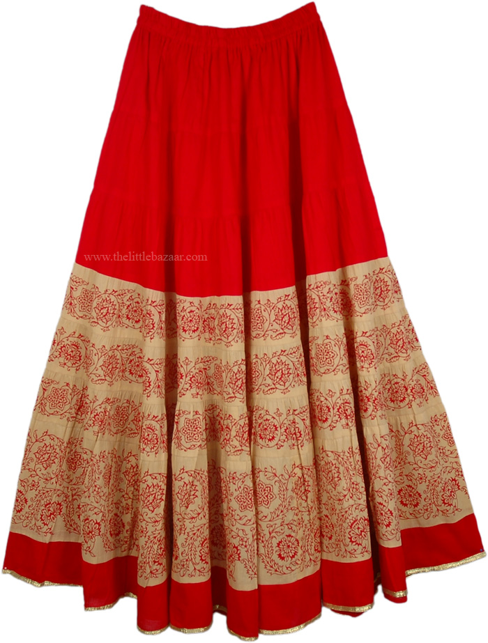 Cotton Ladies Skirt in Blood Red and Khaki, Thunderbird Red Cotton Full Long Skirt
