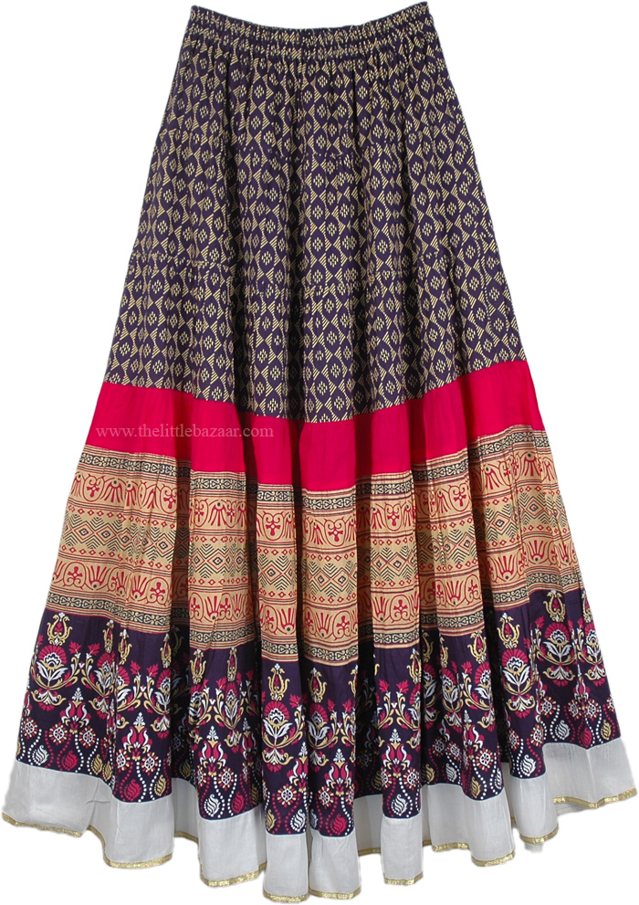 Navy Floral Pattern Ethnic Long Skirt, Navy Seal Cotton Printed Long Skirt