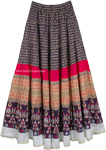 Navy Floral Pattern Ethnic Long Skirt [4724]