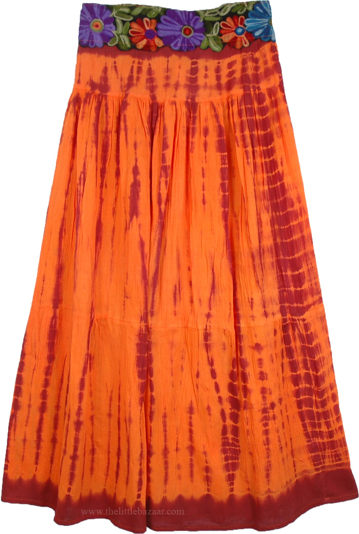 Orange Red Indian Long Skirt, Burning Orange Embroidered Tie Dye Skirt