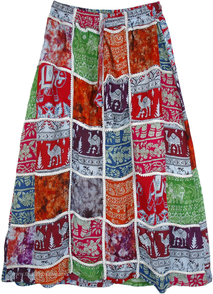 Ethnic Patches Long Skirt , Artistically Inspired Patches Tribal Skirt