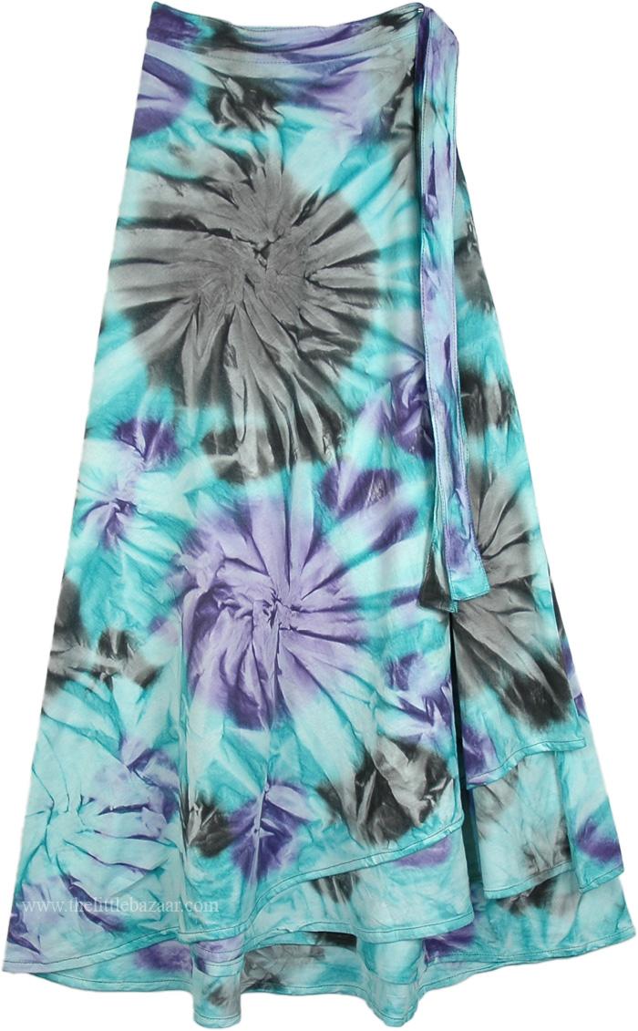 Summer Festival Fun Wrap Skirt, Curious Gypsy Tie Dye Wrap Long Skirt