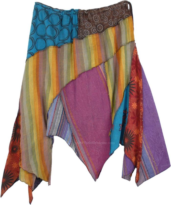 Pixie Skirt Boho Funky Edge Skirt, Extra Large Fun Hanky Hem Patchwork Skirt