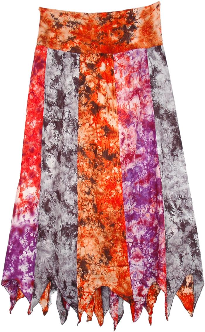 Sunset Waterfall Uneven Hem Long Skirt, Ashanti Bright Multi Print Long Skirt