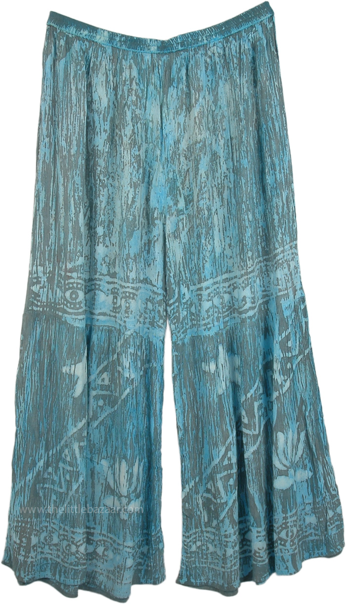 Cerulean Blue and Grey Horizontal Strip Beach Pants, Azure Blue and Grey Stars Palazzo Pants