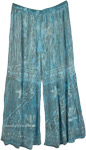 Azure Blue and Grey Stars Palazzo Pants