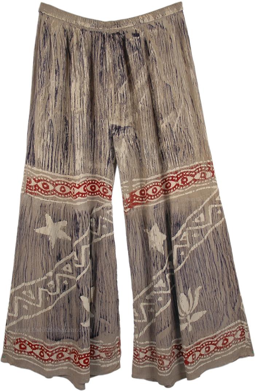 Silver Vertical Stripped Beach Pants, Silver Star Split Skirt Pants