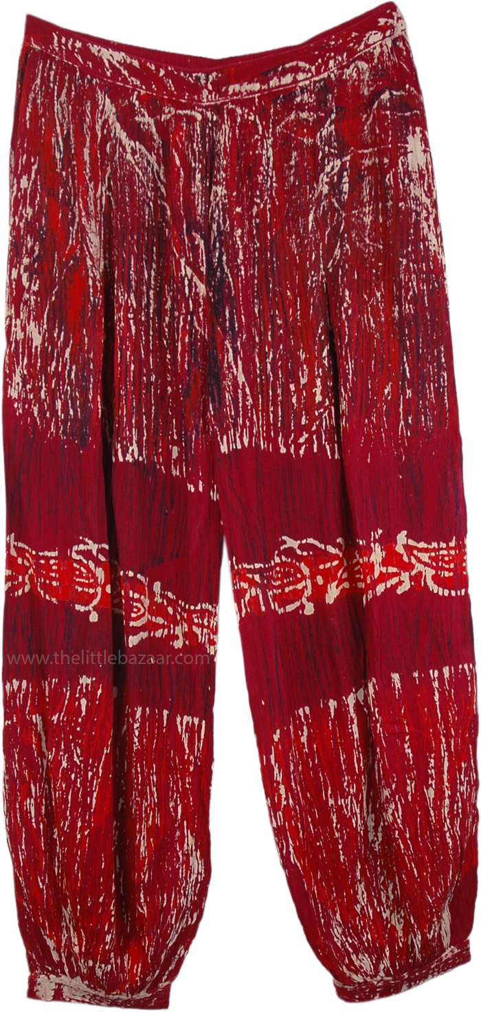 Crimson Red Harem Pants with White Accents, Ruby Red Harem Pants