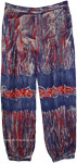 Sapphire Blue Harem Pants with Red and White Accents [4748]