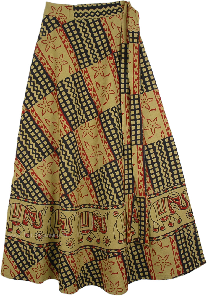 Bohemian Block Print Wrap Skirt in Ethnic Print, Ginger Elephant Floral Print Skirt