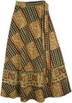 Bohemian Block Print Wrap Skirt in Ethnic Print [4757]