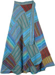 Hippie Skirt with Azure Blue Stripes Patchwork [4764]