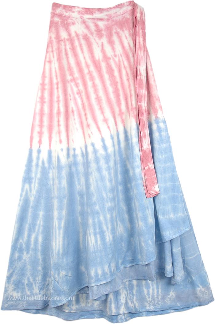 Festive Beach Wrap Skirt, Beach Day Tie Dye Skirt