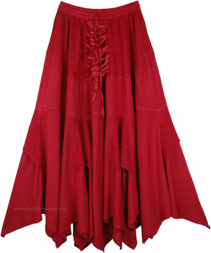 Medieval Chic Tiered Skirt, Handkerchief Hem Embroidered Skirt in Ruby Red